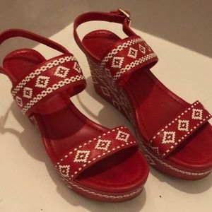 Tory Burch red embroidered leather espadrilles